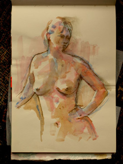 life drawing, sketchbook, coloured pencil and watercolour