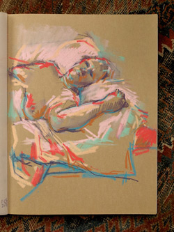life drawing, sketchbook, pencil and pastel