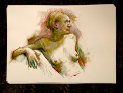 life drawing, oil pastel