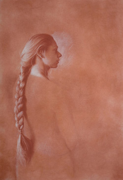 preparatory drawing for portrait, pastel