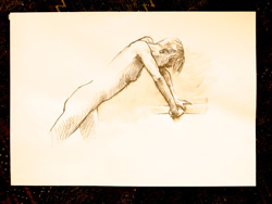 life drawing, water soluble pencil