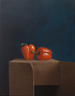 Peppers, acrylic on canvas