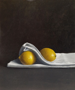 Two Lemons Two of Three, acrylic on board